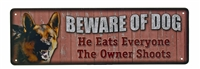 Beware of Dog Mini Tin Sign