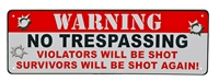 Warning No Trespassing Mini Tin Sign