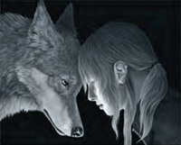 3d lenticular picture of wolf and girl