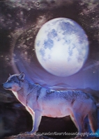 119 3D Lenticular Picture Wolf with Moon
