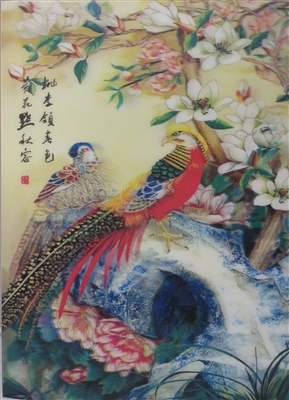 165 3D Lenticular Picture Bird Chinese Writing