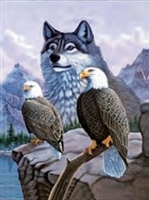 166 3d wolf with two eagles 2a2516