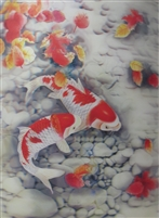 176 3d white and red koi fish vertical 2a2502