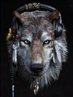 260 3d wolf with headphones