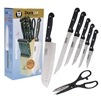 13 Piece Master Chef Cutlery Set W/ Block Black Handles
