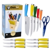 13 Piece Master Chef Cutlery Set W/ Block with color handles