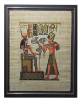 Ramses II presenting Hathor with flowers (glitter) Framed Papyrus #10