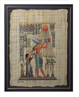 Aten blessing Ankhenaten, Nefertiti, and daughter Framed Papyrus #12