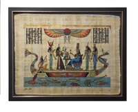 Hathor, Ma'at, Nefertari, Isis, Nephthys on a barge Framed Papyrus #18