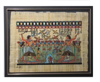 Nebamun hunting and fishing in boat with Hatshepsut and daughter on papyrus raft Framed Papyrus #19