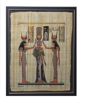 Nefertari blessed by Isis and Hathor Framed Papyrus #2
