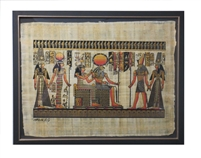Nefertari brought by Hathor and Horus to Ra and Imentet Framed Papyrus #20