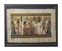 Nefertari brought by Hathor and Horus to Ra and Imentet (glitter) Framed Papyrus #21