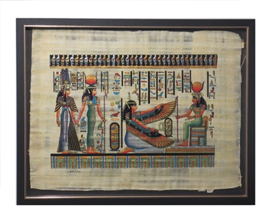 Nefertari, Hathor, Ma'at, Isis Framed Papyrus #26