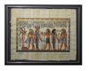 Pharoah before Osiris and Isis, Atum bringing gifts to Hathor (glitter) Framed Papyrus #29