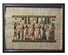 Hathor offers necklace to Amun, Anubus, Horus ordains Ramses II, Nefertari offering to Anuket (glitter) Framed Papyrus #37