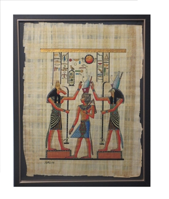 Seth and Horus attending to Hatum in Pshent Framed Papyrus #4