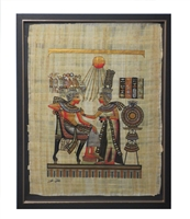 Tutankhamun and Ankhesenamun Framed Papyrus #5
