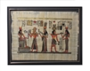 Hathor audience with Ramses II and Nefertari, offering neklace to Amun Framed Papyrus #51