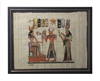 Ramses II and Nefertari offer flowers to Hathor Framed Papyrus #57