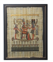 Nefertari on barge, attended by servants Framed Papyrus #6