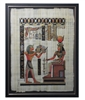 Tutankhamun offering to Hathor Framed Papyrus #60