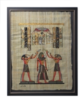 Thoth and Horus pouring life on Pharaoh Framed Papyrus #7