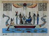 #18 Hathor, Ma'at, Nefertari, Isis, Nephthys on a barge Papyrus