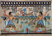 #19 Nebamun hunting and fishing in boat with Hatshepsut and daughter on papyrus raft Papyrus