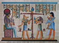 #23 Weighing of heart before Ra by Anubus and Thoth Papyrus