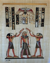 #7 Thoth and Horus pouring life on Pharaoh Papyrus