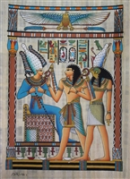 #8 Hourmoheb stands before Osiris and Horus Papyrus