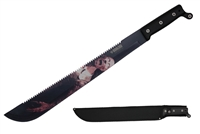 "22"" Top Serrated Machete With Black Handle And Nylon Sheath"
