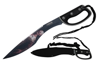 "20.75"" Machete With Black Handle With Paracord Rope At End Of Handle With Black Nylon Sheath"