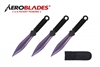"6.5"" Purple Set of 3 Throwing Knives"