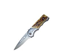 Mini Automatic Faux Stag Handle Flip Blade