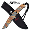 Brown Camo Finish Tactical 6MM Thick Fixed Tanto Blade Knife With Sheath MT-20-15TBC