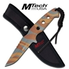 Brown Camo Finish Tactical 6MM Thick Fixed Drop Point Blade Knife With Sheath MT-20-16DBC