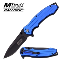 MT-A878BL Blue Handle with Black Blade Assisted Opening Knife