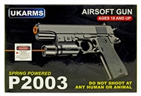 P2003 Spring Airsoft Hand Gun With Laser & LED Light