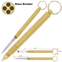 Self Defense 2 in 1 Steel Kubaton Keychain Gold