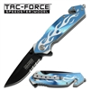 Tac-Force Assisted Opening Silver Flame on Blue Handle Knife TF-801BLS
