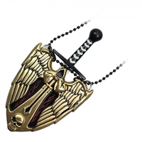 Golden Evil Angel Neck Knife With Hidden Blade and Necklace