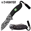 ZB-093BKS Black Z-Hunter with Skull Trinket Assisted Opening Knife