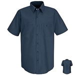 Navy Blue Short Sleeve Work Shirt, regular body