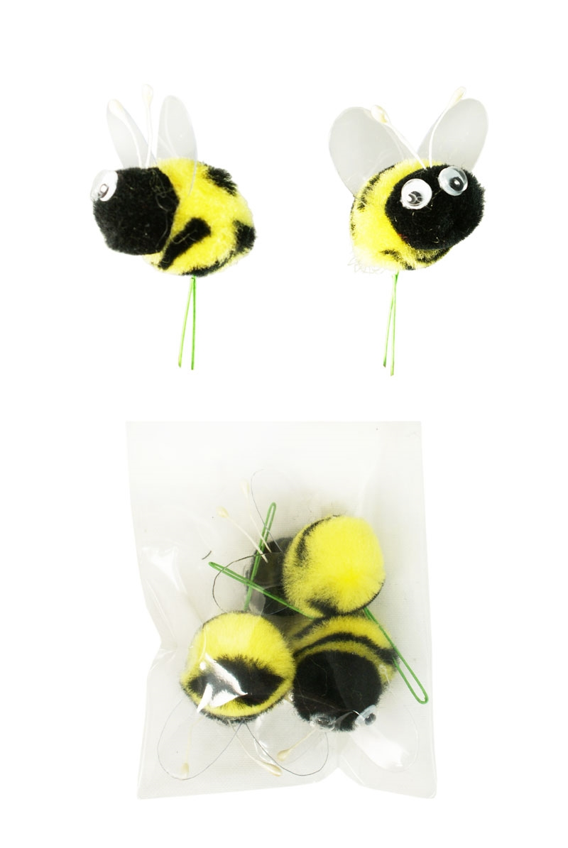 Pom pom bees with googly eye craft spring floral picks for Artificial bees for decoration