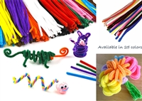 "100PCS Craft Chenille Stems Pipe Cleaners 6mm x 12"" Top Quality 25 colors"