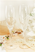 Crystal Swirl Wedding Toasting Glasses Champagne Flutes Engrav