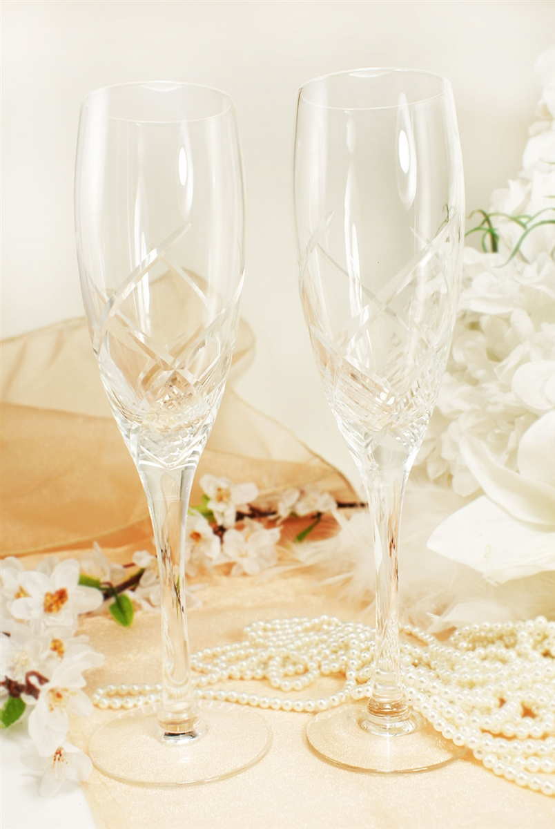 Crystal Swirl Wedding Toasting Flute Champagne Glass Set