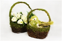 2pcs Set Twig Moss Basket Covered Planter with Plastic Liner Easter Spring Deco